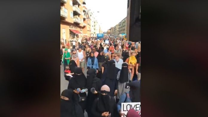muslim-women-supporters-protest-denmark-burqa-ban-comes-effect-video